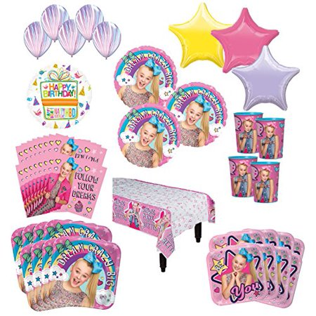 JoJo Siwa Birthday Party Supplies 8 Guest Kit and Balloon Bouquet Decorations (Spy Party Supplies)
