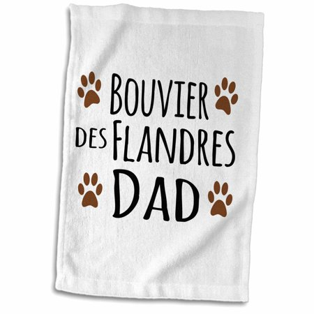 3dRose Bouvier des Flandres Dog Dad - Doggie by breed - brown muddy paw prints love - doggy lover pet owner - Towel, 15 by 22-inch