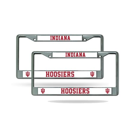 (Indiana Hoosiers NCAA Chrome Metal (2) License Plate Frame Set)