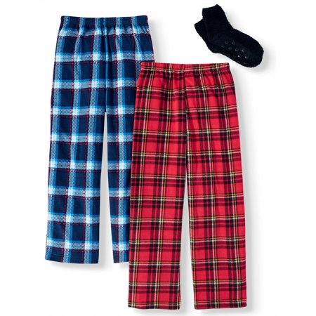 How Boys Sleep (Mad Dog Micro Fleece Pajama Sleep Pants, 2-Pack with Slipper Sock GWP (Little Boys and Big)