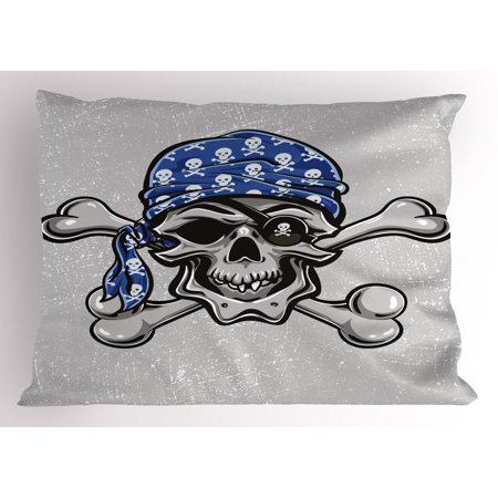 Skull Pillow Sham Scallywag Pirate Dead Head Grunge Horror Icon Evil Sailor Crossed Bones Kerchief, Decorative Standard Size Printed Pillowcase, 26 X 20 Inches, Blue Grey Black, by Ambesonne](Pirate Kerchief)