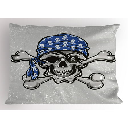 Skull Pillow Sham Scallywag Pirate Dead Head Grunge Horror Icon Evil Sailor Crossed Bones Kerchief, Decorative Standard King Size Printed Pillowcase, 36 X 20 Inches, Blue Grey Black, by Ambesonne](Pirate Kerchief)