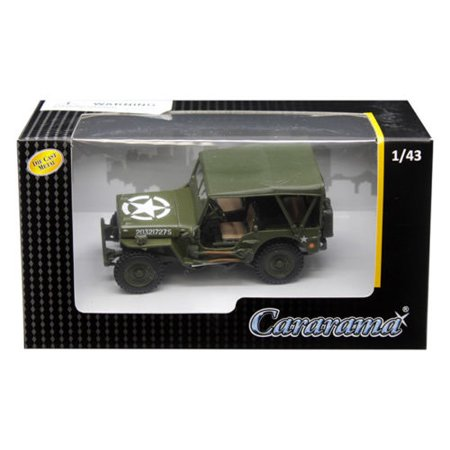 CARARAMA 1:43 1/4 TON MILITARY VEHICLE SOFT TOP GREEN 4-90180