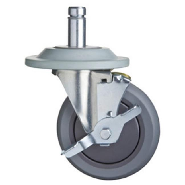FocusFoodService FTPRCST5B 5 in. Thermoplastic Rubber Caster Swivel Stem Brakes and Bumpers