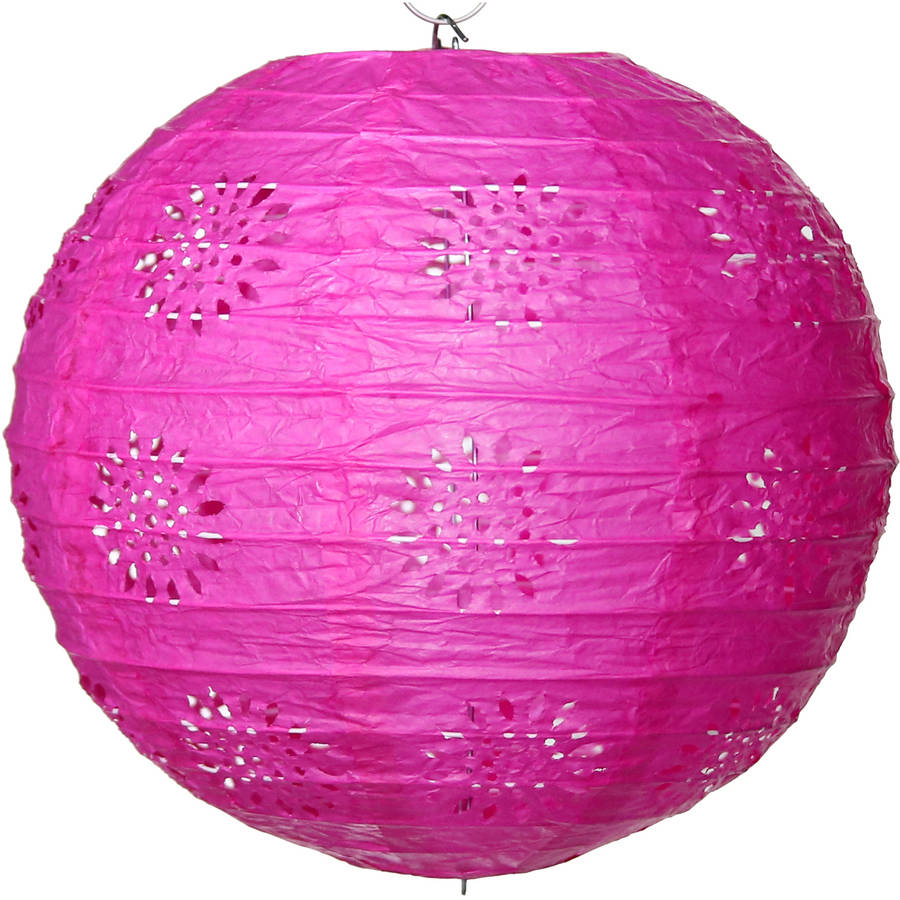 Lace Paper Lantern Hot Pink, Set of 3