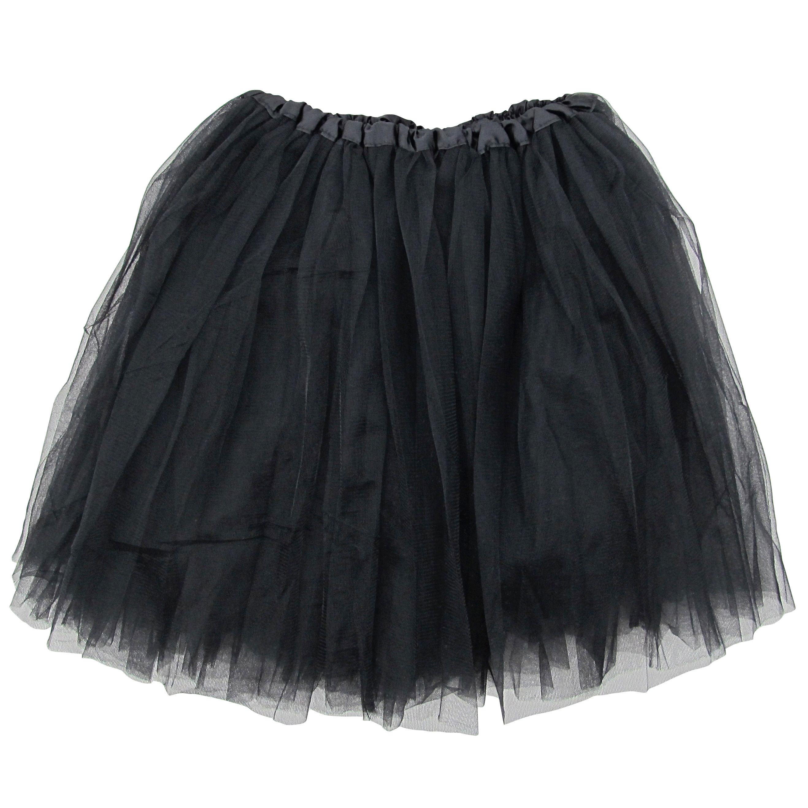 Black Adult Size 3-Layer Tulle Tutu Skirt - Princess Halloween Costume, Ballet Dress, Party Outfit, Warrior Dash/ 5K Run