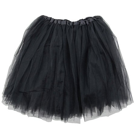 Slumber Party Costume For Halloween (Black Adult Size 3-Layer Tulle Tutu Skirt - Princess Halloween Costume, Ballet Dress, Party Outfit, Warrior Dash/ 5K)