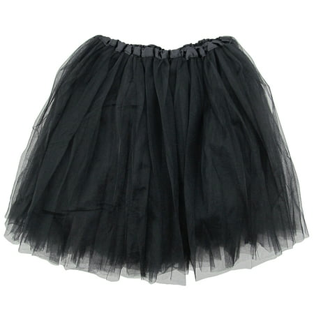 Black Tutu Costumes (Black Adult Size 3-Layer Tulle Tutu Skirt - Princess Halloween Costume, Ballet Dress, Party Outfit, Warrior Dash/ 5K)