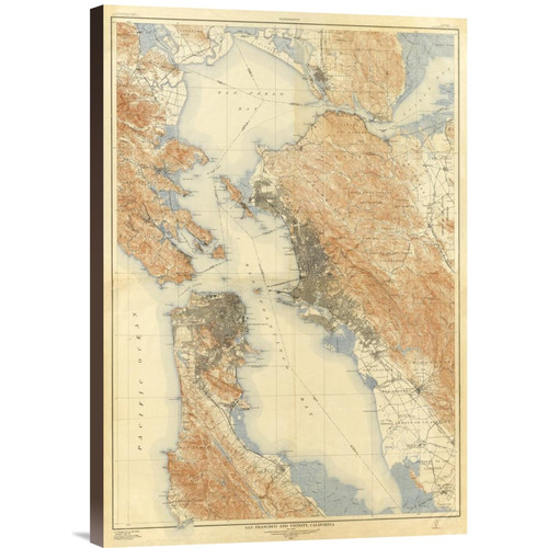 Global Gallery 'San Francisco and Vicinity, California, 1915' by U.S. Geological Survey Graphic Art on Wrapped Canvas