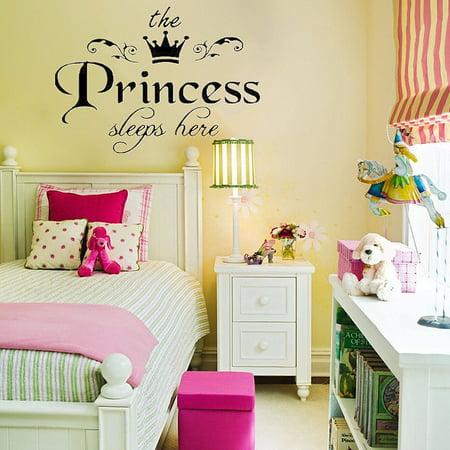Princess Sleeps Here DIY Removable Girls Bedroom Wall Sticker Decals