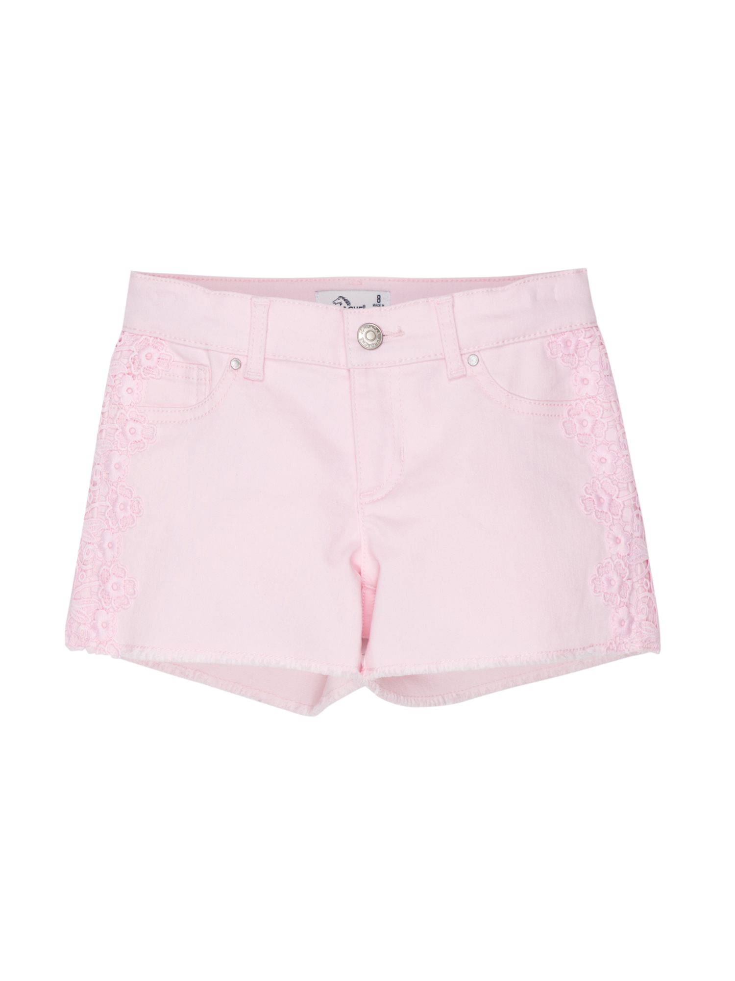 Lace Trim Fray Hem Denim Short (Little Girls & Big Girls)
