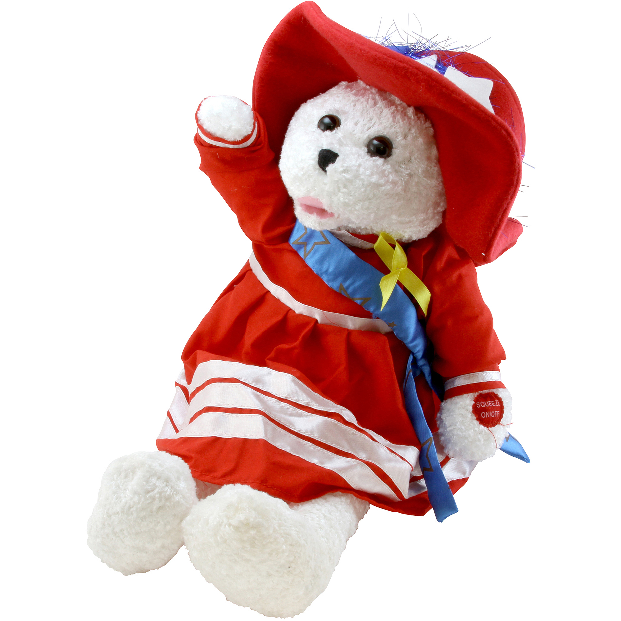 "Chantilly Lane 19"" Betsy Patriotic Bear Sings God Bless America"