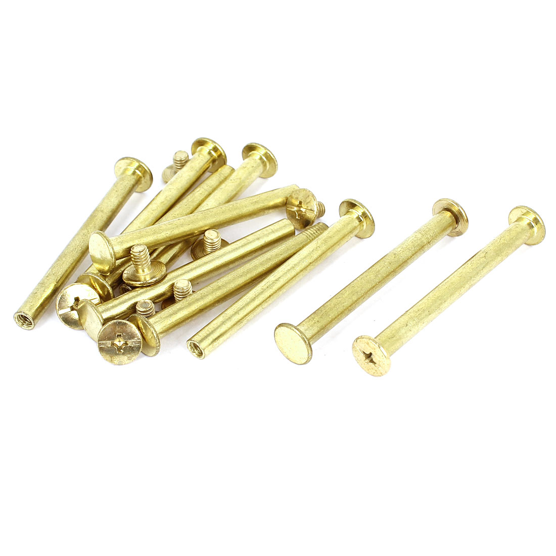 Unique Bargains Brass Plated 5x50mm Binding Chicago Screw Post 10pcs for Leather Scrapbook