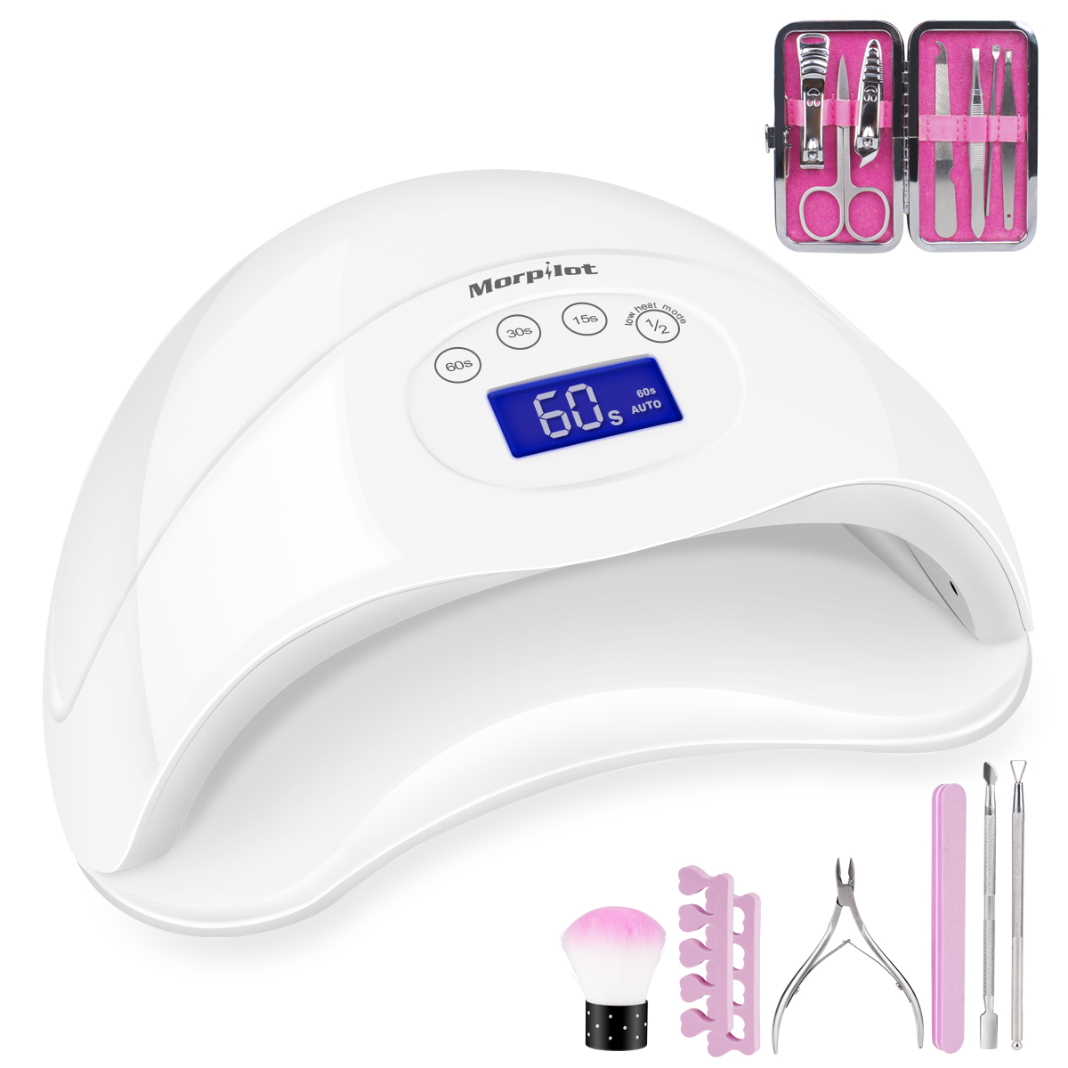 Morpilot 48W LED Gel Nail Lamp UV Nail Dryer Lamp Curing for gel and regular polish with 4 Timer Setting Sensor Upgraded, Professional Fingernail & Toenail Gel Curing Nail Art Painting Salon Tools