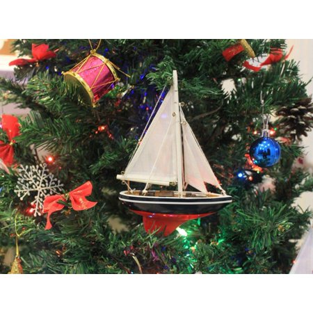 Blue White and Red Sailboat Christmas Tree Ornament 9