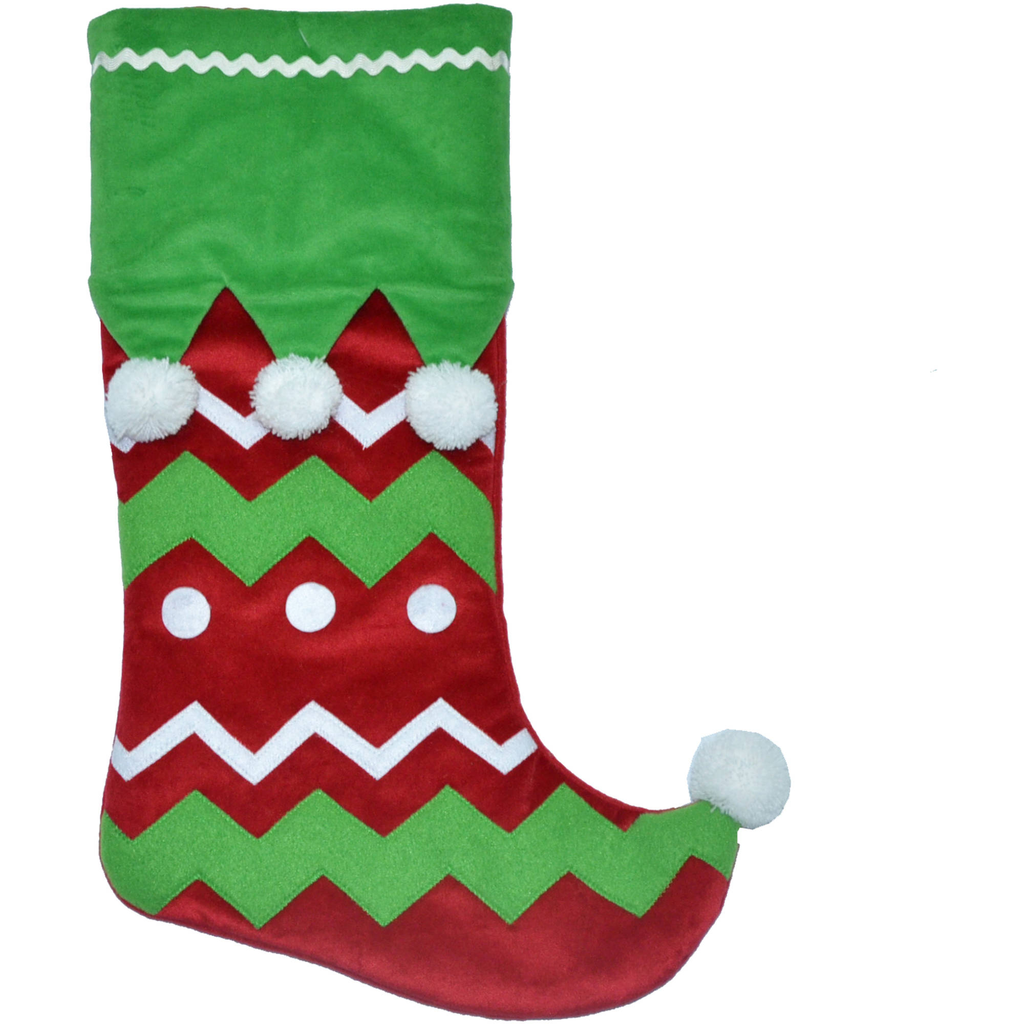 "Holiday Time Christmas Decor 20"" Green Cuff Elf Stocking with Pom Pom"