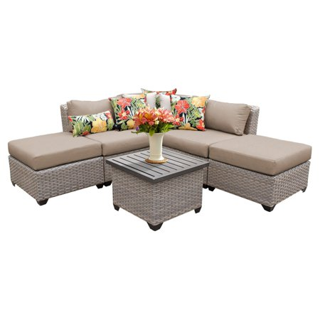 TK Classics Florence Wicker 6 Piece Patio Conversation Set with 2 Sets of Cushion Covers ()