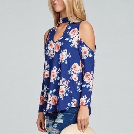 Zxzy Women Round Neck Long Sleeve Cold Shoulder Cut Out Floral Print Tops