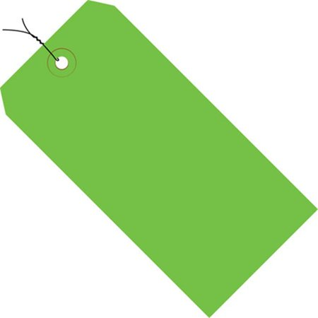 Light Green 13 Pt. Shipping Tags - Pre-Wired SHPG11033D 3 3/4  x 1 7/8  Light Green 13 Pt. Shipping Tags - Pre-Wired. Colored tags aide in coding shipments and inventory. Tags feature a 3/16  reinforced, tear resistant eyelet.  Wired with 12 , 26 gauge wire.  Additional wire available stock number G2500.  Available in case quantities. 1000/Case.