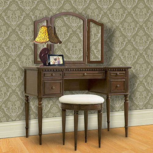 3-Piece Vanity, Mirror and Bench Set, Warm Cherry