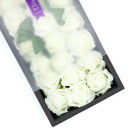 Ella Celebration 25 White Real Touch Roses, Foam Artificial Fake Flowers with Stems for Weddings and Party Decorations, DIY Bridal Bouquets Arrangements Centerpieces, Home or Office Decor (White) Ftd Celebration Bouquet