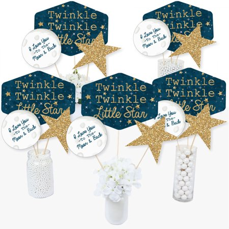 Twinkle Twinkle Little Star - Baby Shower or Birthday Party Centerpiece Sticks - Table Toppers - Set of 15 (Blue And Gold Centerpiece Ideas)