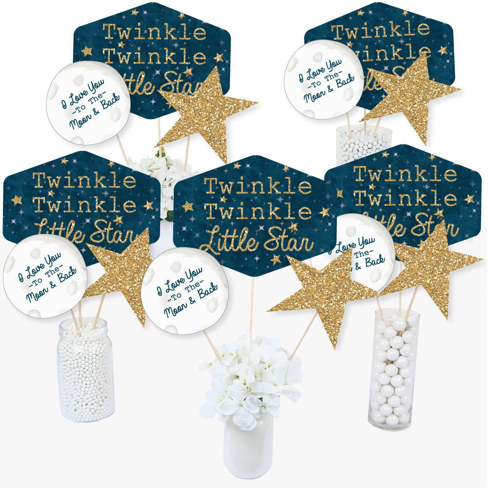 Twinkle Twinkle Little Star - Baby Shower or Birthday Party Centerpiece Sticks - Table Toppers - Set of 15