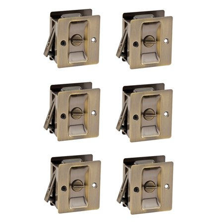 Kwikset 333 Notch Bed Bath Privacy Pocket Sliding Door Lock, Brass (6 Pack) (Brass Sliding Gauge)