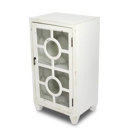 Hampton 1-Door Accent Cabinet with Lattice Glass Inserts - Antique White