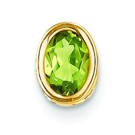 - 14K Gold .90ct Oval Peridot Slide Pendant Jewelry