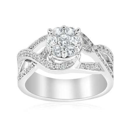 1ct Pave Round Brilliant Halo Diamond Engagement Crossover Wide Ring White Gold
