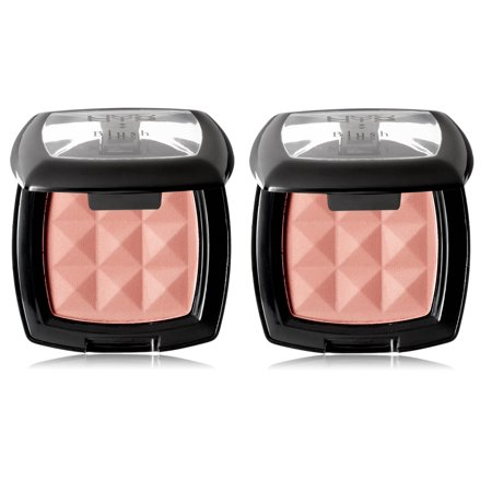NYX Cosmetics Powder Blush, Dusty Rose, 0.14oz (Pack of 2) + Makeup Blender