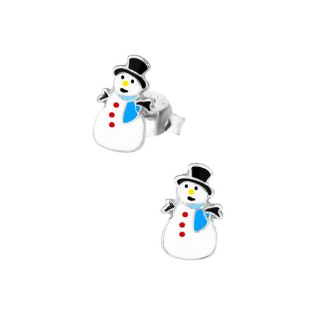 Earrings For Kids (Hypoallergenic Sterling Silver Christmas Snowman Stud Earrings for Kids (Nickel)