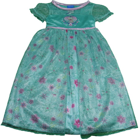 Disney Frozen Girls Size Large (10) Fantasy Nightgown with Tulle Skirt, Teal