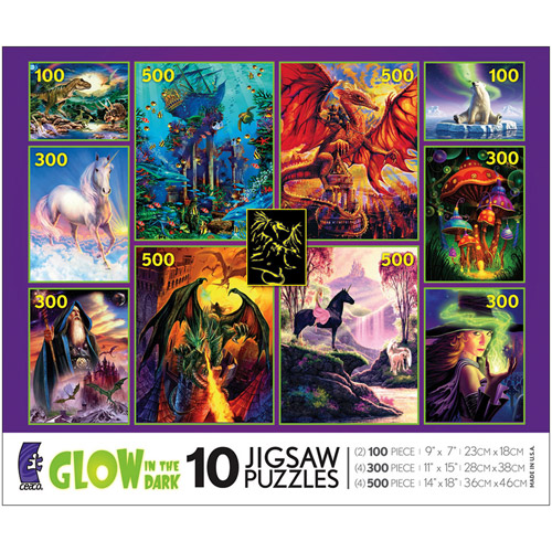 Ceaco 10-in-1, 100/300/500 Piece Jigsaw Puzzle Glow in the Dark Multi-Pack #3802-13