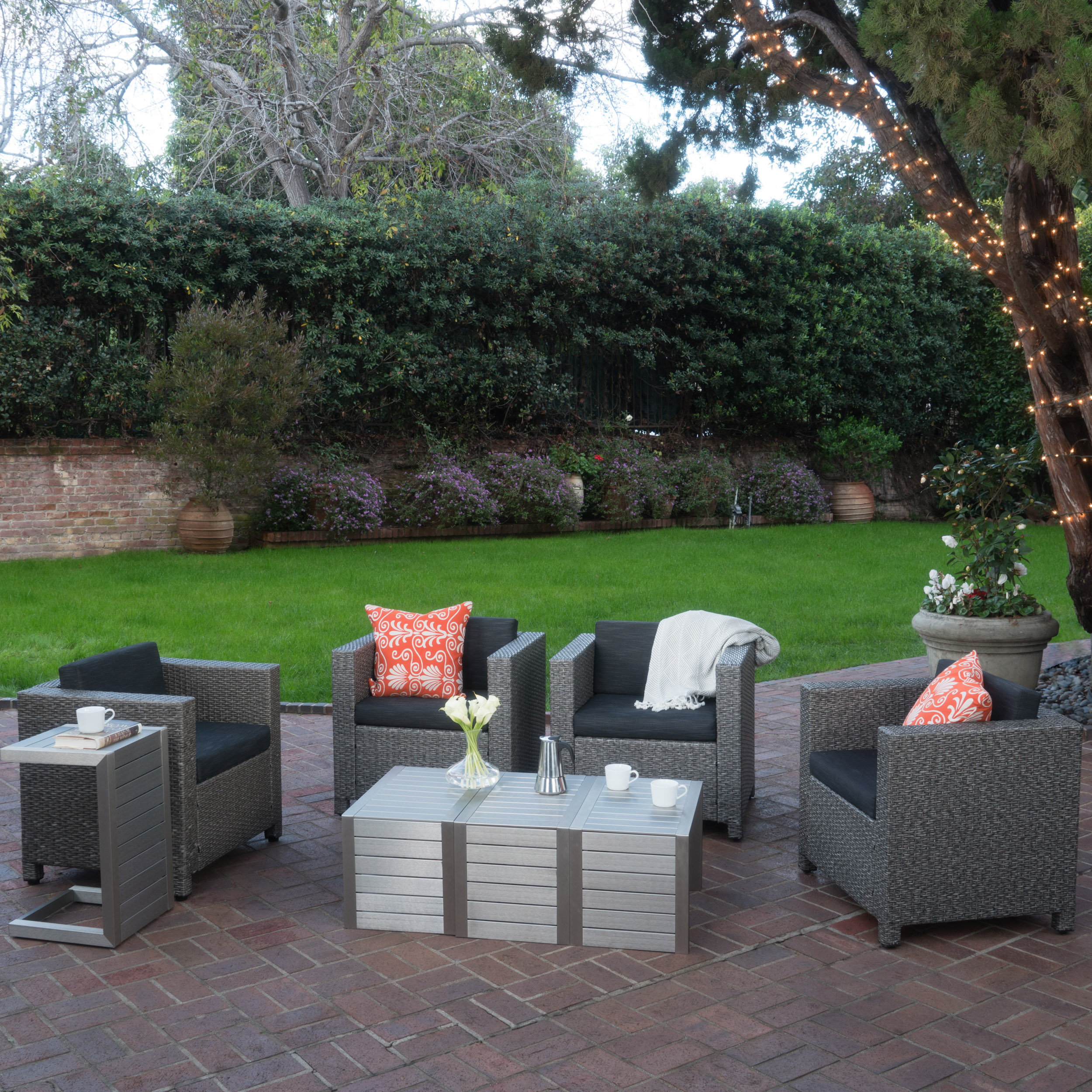 Cascada Outdoor 4 Piece Wicker Club Chairs with Cushions and C-Shaped Tables Set, Silver, Dark Grey, Mixed Black
