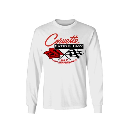 Corvette Stingray T-Shirt Long Sleeve - Chevy Corvette Shirt (Small)