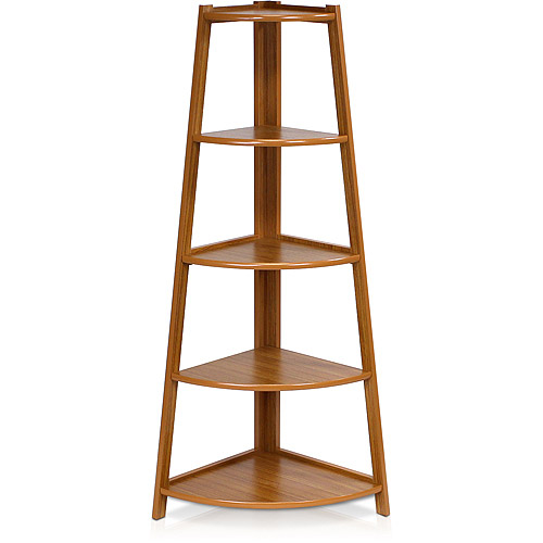 Furinno FNAJ-11112EX Yaotai 5-Layer Corner Ladder Garden Shelf, Cherry