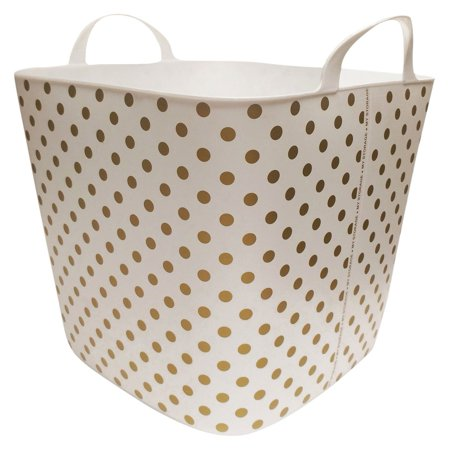 Life Story 25 Liter Plastic Home Storage Container Bin Tub Basket, Gold Polkadot - Gold Tux