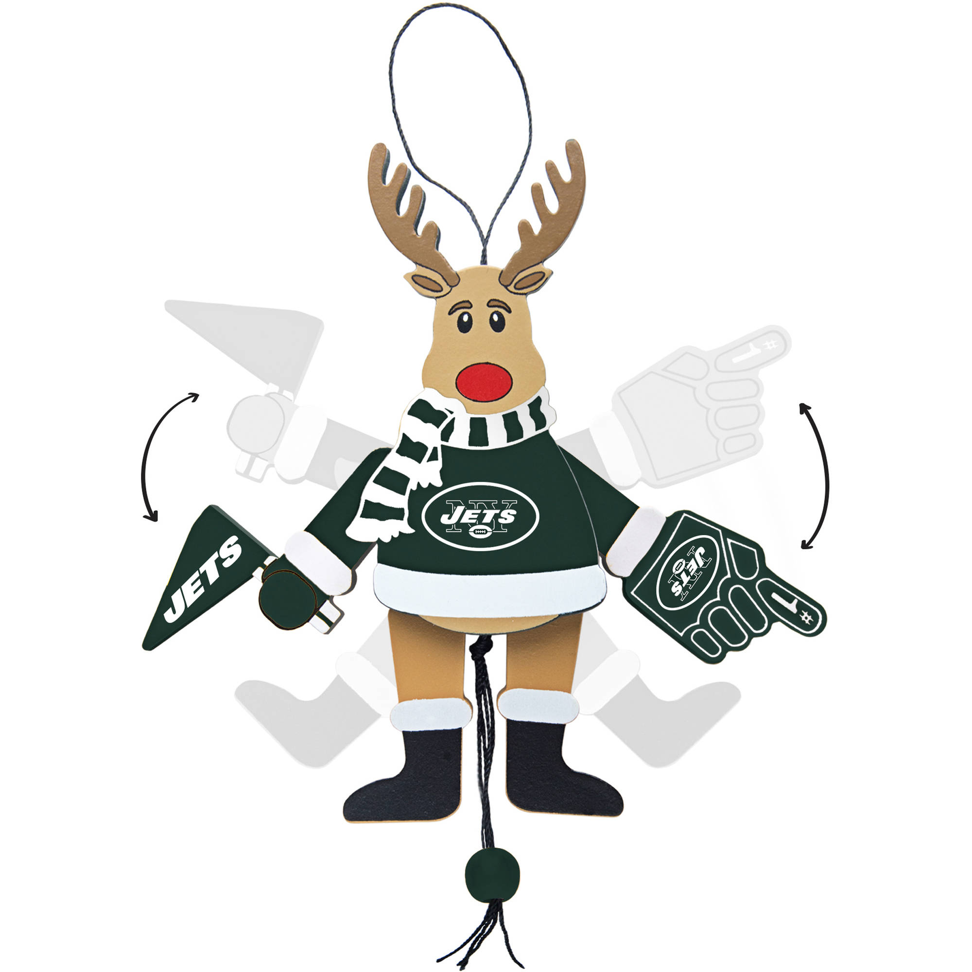 Topperscot by Boelter Brands NFL Wooden Cheering Reindeer Ornament, New York Jets