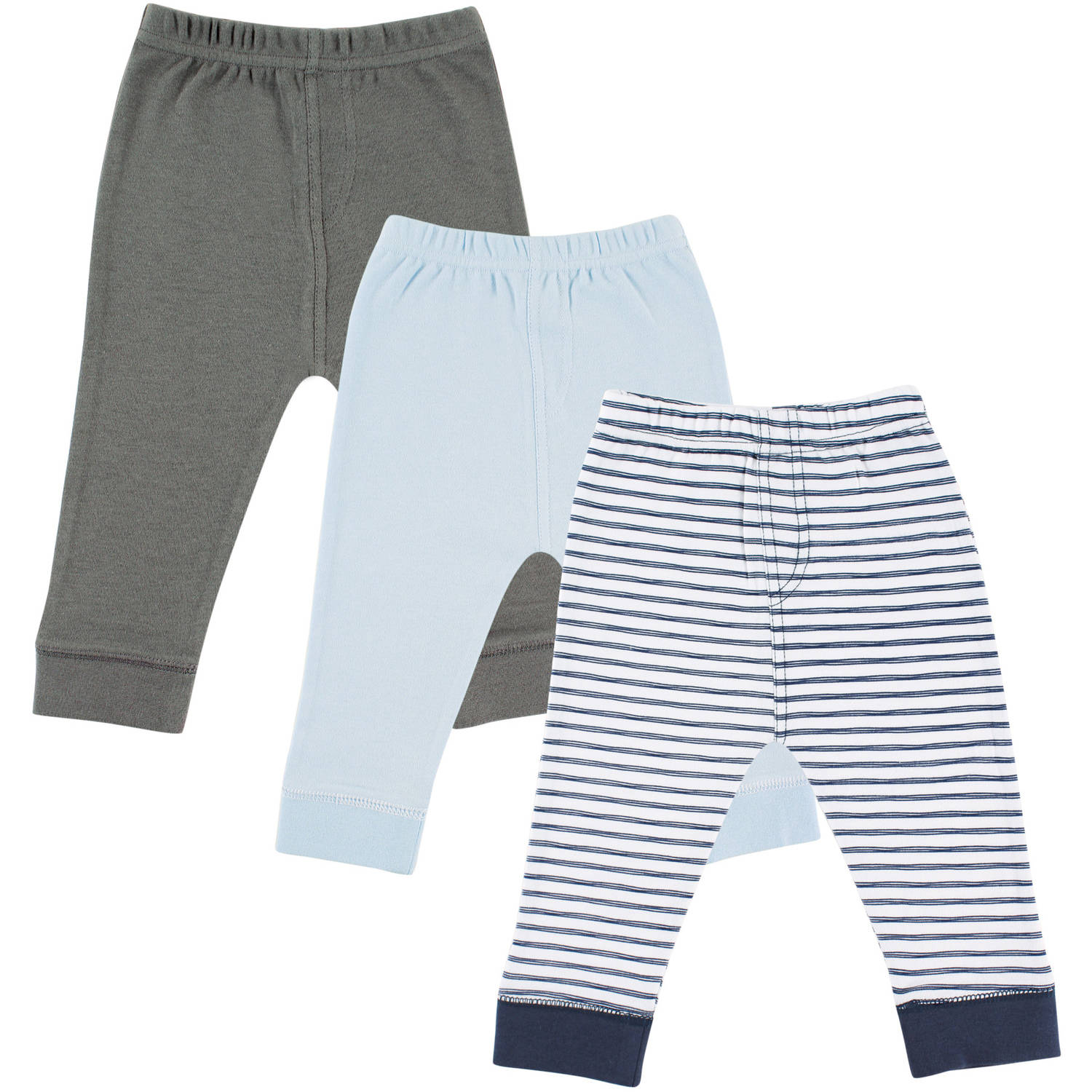 Luvable Friends Newborn Baby Boys Tapered Ankle Pant 3-Pack - Navy Stripe