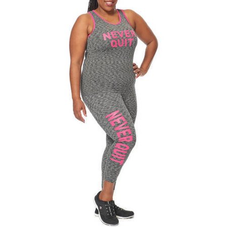 Under Control Women's Plus Active Never Quit Graphic Set