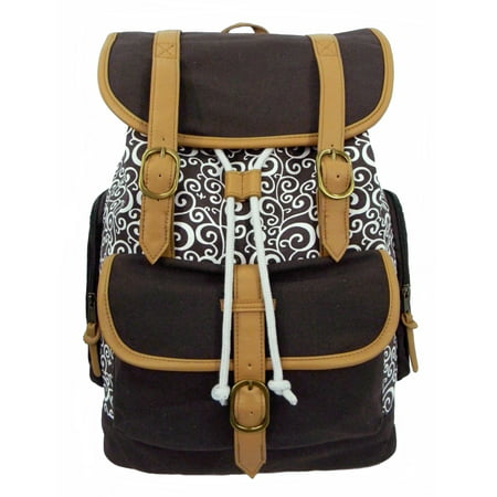 Canvas Laptop Bookbag Vintage Cotton Canvas Daypack Casual Canvas Laptop Backpack Pattern Printed College Student Canvas School Backpack Fit 15 inch Laptop MacBook Chrome Book Ipad Travel Bag Brown](Canvas Book Bags)