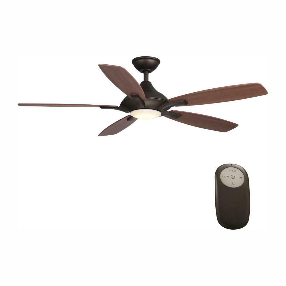 Home Decorators Collection 24426 Petersford 52 In Integrated Led Indoor Oil Rubbed Bronze Ceiling Fan With Light Kit And Remote Control Walmart Com Walmart Com