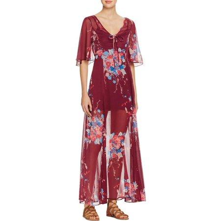 Gypsy Maxi - Band of Gypsies Womens Sheer Bell Sleeves Maxi Dress