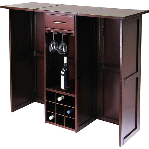 Winsome Wood Newport Expandable Entertainment Wine Bar, Walnut Finish