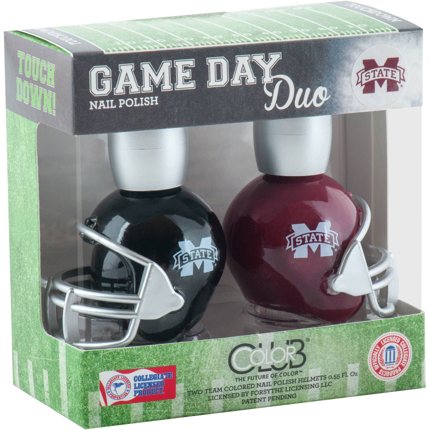 Color Club Polish Game Day Duo Pack Nail Lacquer, Mississippi State, 0.55 fl oz
