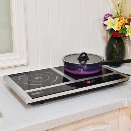 Induction Stove - Costway Electric Portable Induction Cooker Double Burner Cooktop Digital Display New