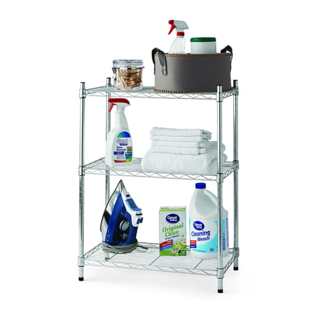 Hyper Tough 13.4u0022Dx23.2u0022Wx30.6u0022H 3 Tier Stackable Wire Shelving Rack, Silver/Zinc