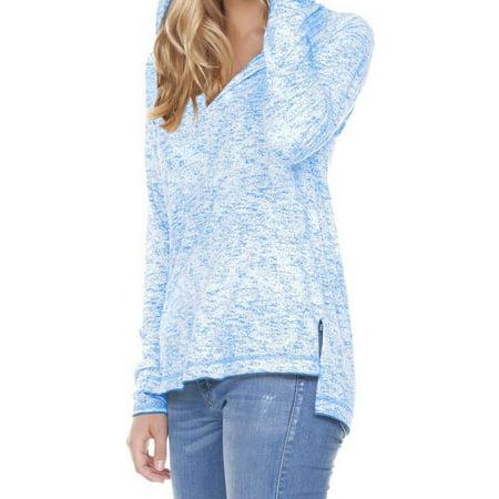 - Kavio! Women Static Jersey Print Raglan Long Sleeve High Low Hoodie Azure L